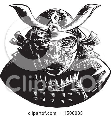 Clipart of a Samurai Warrior Waring a Kabuto Helmet - Royalty Free Vector Illustration by patrimonio