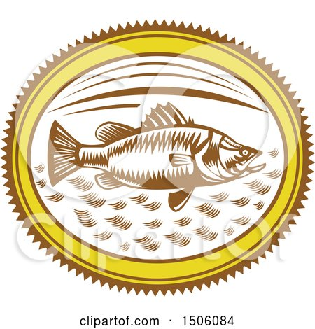 Clipart of a Saltwater Barramundi Fish in an Oval - Royalty Free Vector Illustration by patrimonio