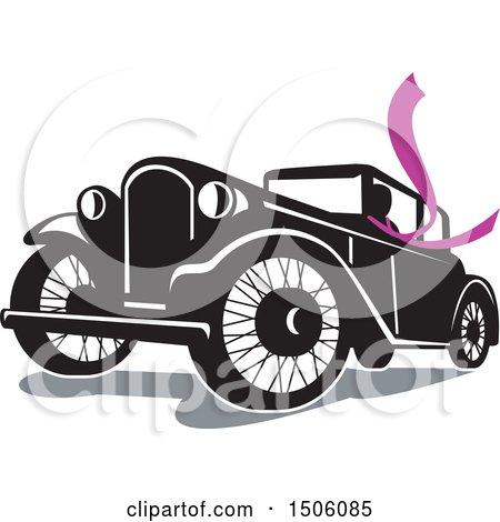 Clipart of a Driver Wearing a Long Purple Scarf in a Vintage Coupe Automobile - Royalty Free Vector Illustration by patrimonio