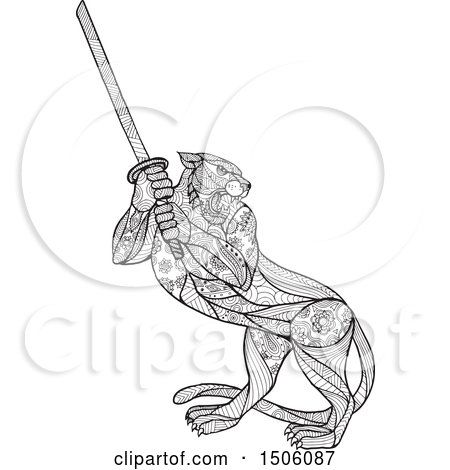 Clipart of a Zentangle Styled Tiger Holding a Katana Sword - Royalty Free Vector Illustration by patrimonio