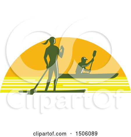 Clipart of a Silhouetted Stand up Paddler and Kayaker in a Sunset Half Circle - Royalty Free Vector Illustration by patrimonio