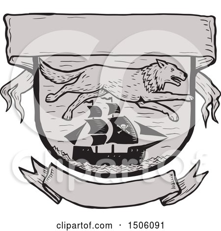 Clipart of a Seawolf over a Pirate Ship in a Shield with Banners - Royalty Free Vector Illustration by patrimonio