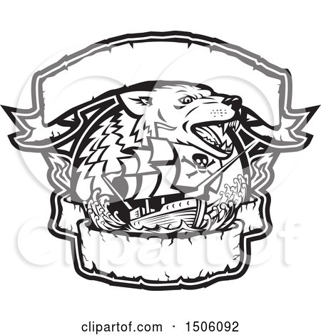 Clipart of a Black and White Galleon Pirate Ship with a Wolf and Banners - Royalty Free Vector Illustration by patrimonio