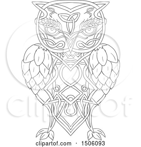 Clipart of a Celtic Knotwork Styled Owl with Barley and Hops - Royalty Free Vector Illustration by patrimonio