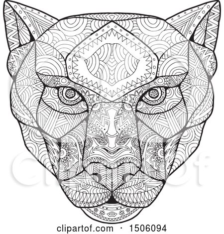 Clipart of a Panther Head in Black and White Zentangle Style - Royalty Free Vector Illustration by patrimonio