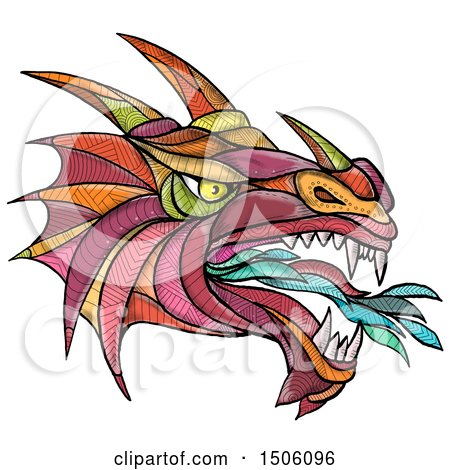 Clipart of a Fire Breathing Dragon Head in Colorful Zentangle Style, on a White Background - Royalty Free Illustration by patrimonio