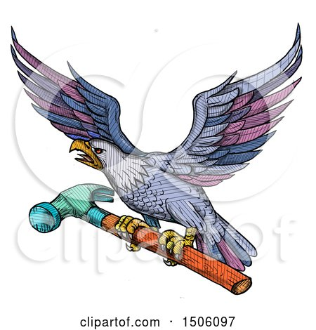 Clipart of a Bald Eagle Flying with a Hammer in Colorful Sketched Style, on a White Background - Royalty Free Illustration by patrimonio