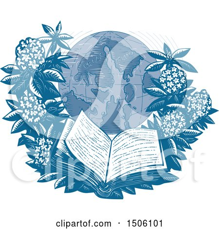 Clipart of a Sketched Orcas Island Globe Framed with Rhododendrons and an Open Book - Royalty Free Vector Illustration by patrimonio