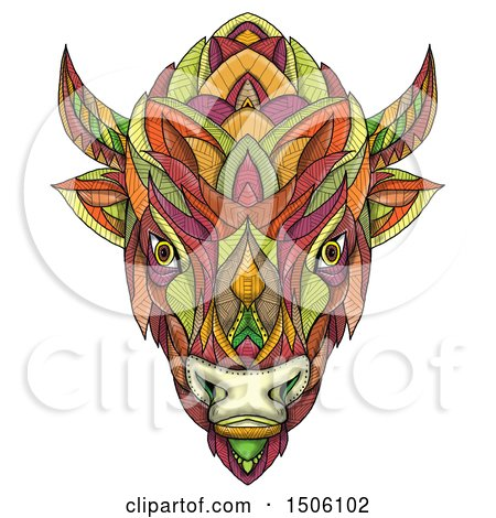 Clipart of a Bison or American Buffalo Head in Colorful Mandala Zentangle Style, on a White Background - Royalty Free Illustration by patrimonio