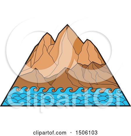 Clipart of Mountain Peaks with Ocean Waves - Royalty Free Vector Illustration by patrimonio