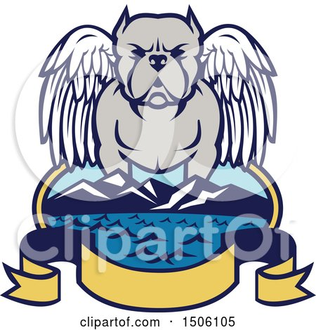 Clipart of a Winged Angel Pit Bull Dog over a Bay with Mountains and Banner - Royalty Free Vector Illustration by patrimonio