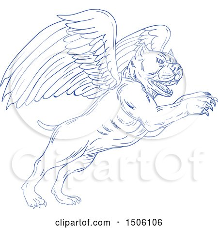 Clipart of a Sketched Winged Pit Bull Dog - Royalty Free Vector Illustration by patrimonio