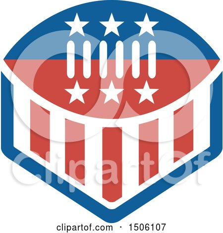 Clipart of a Red White and Blue American Football with Stars and Stripes - Royalty Free Vector Illustration by patrimonio