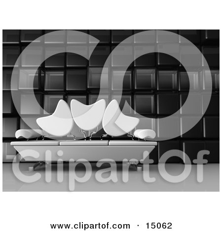 Modern Living Room Or Office Lobby Interior With A White Sofa With Tulip Shaped Back Rests And Chrome Poles Against A Cubic Wall Posters, Art Prints