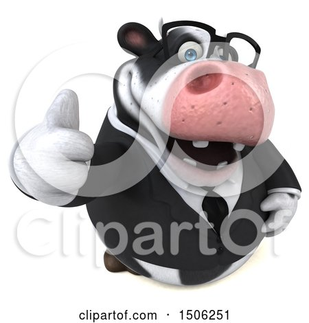 Clipart of a 3d Business Holstein Cow Holding up a Middle Finger, on a White Background - Royalty Free Illustration by Julos