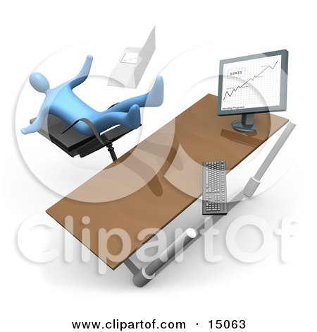 Blue Business Person Falling Backwards After Clumsily Leaning Too Far Back In A Chair At His Computer Desk While Comparing Graphs On A Printout And On The Computer Posters, Art Prints