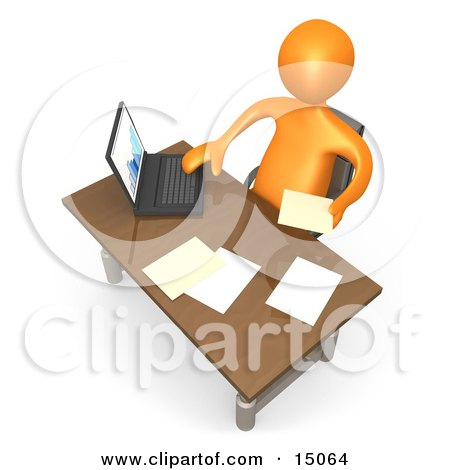 Orange Employee Seated At A Wooden Desk And Using A Laptop While Doing Paperwork At The Office Posters, Art Prints