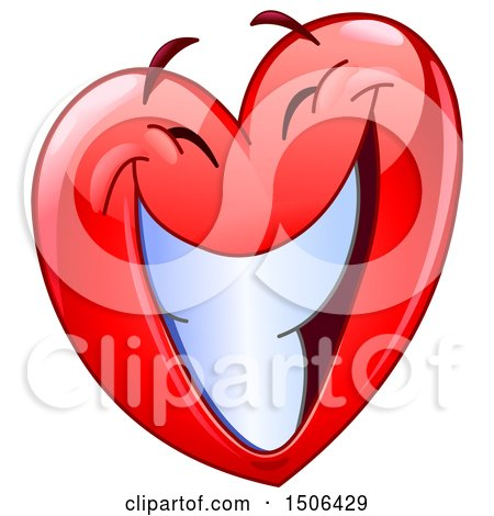 Clipart of a Red Love Heart Valentine Mascot Character with a Big Smile - Royalty Free Vector Illustration by yayayoyo