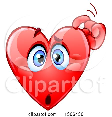 Clipart of a Confused Red Love Heart Valentine Mascot Character Scratching His Head - Royalty Free Vector Illustration by yayayoyo