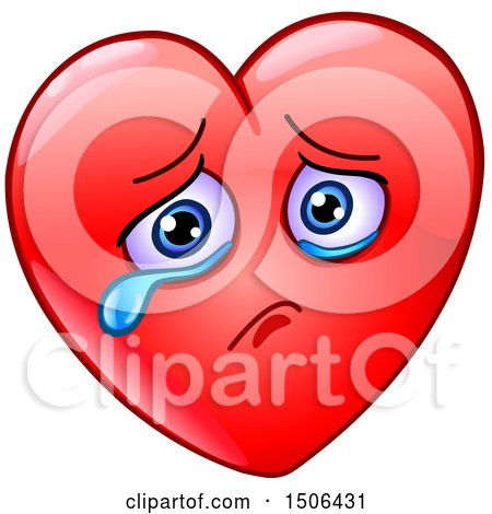 Clipart of a Red Love Heart Valentine Mascot Character Crying - Royalty Free Vector Illustration by yayayoyo