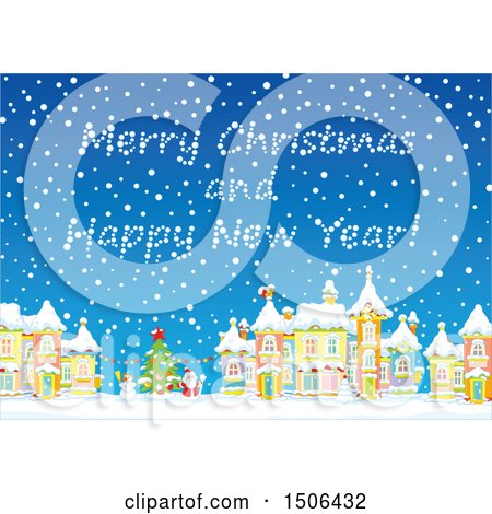 Clipart of a Merry Christmas and Happy New Year in a Snowy Sky over a Christmas Town - Royalty Free Vector Illustration by Alex Bannykh