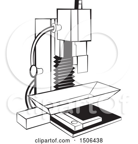Clipart of a Black and White Milling Machine - Royalty Free Vector Illustration by Lal Perera