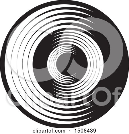 Clipart of a Black and White Abstract Letter C Design - Royalty Free Vector Illustration by Lal Perera