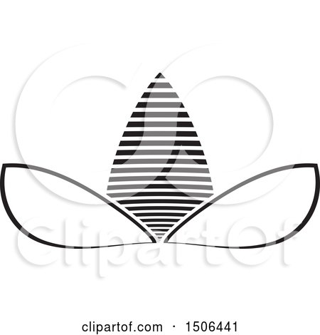 Clipart of a Black and White Flower Icon - Royalty Free Vector Illustration by Lal Perera