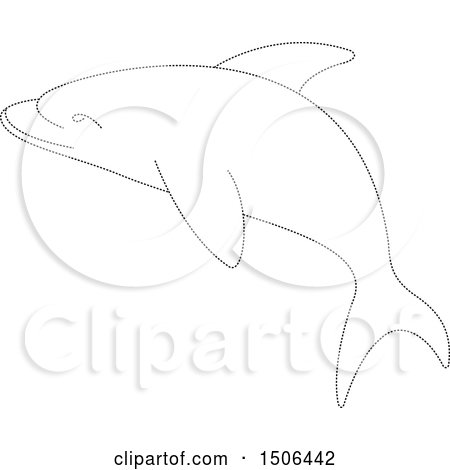 Clipart of a Dolphin Made of Black Dots - Royalty Free Vector Illustration by Lal Perera