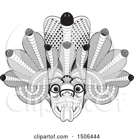 Clipart of a Black and White Sri Lanka Maha Kola Devil Mask - Royalty Free Vector Illustration by Lal Perera