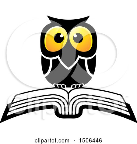 Clipart of a Wise Owl over a Book - Royalty Free Vector Illustration by Lal Perera
