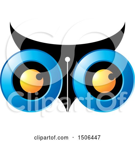 Clipart of an Owl Face with a Pen Nib - Royalty Free Vector Illustration by Lal Perera