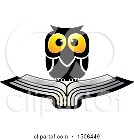 Clipart of a Wise Owl over a Silver Book - Royalty Free Vector Illustration by Lal Perera