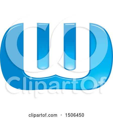 Clipart of a Blue Letter W Design - Royalty Free Vector Illustration by Lal Perera