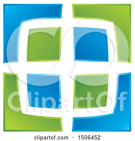 Clipart of a Blue and Green Window Design - Royalty Free Vector Illustration by Lal Perera