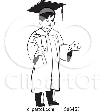 Clipart of a Grayscale Boy Graduate Holding a Diploma - Royalty Free Vector Illustration by Lal Perera