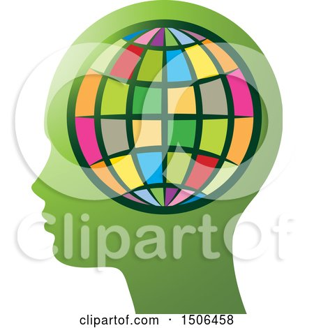 Clipart of a Colorful Globe over a Profiled Green Head - Royalty Free Vector Illustration by Lal Perera