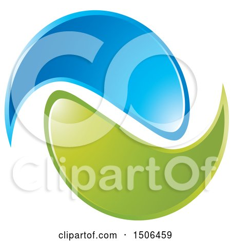 Clipart of a Blue and Green Swoosh Icon - Royalty Free Vector Illustration by Lal Perera