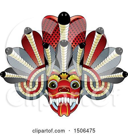 Clipart of a Sri Lanka Maha Kola Devil Mask - Royalty Free Vector Illustration by Lal Perera