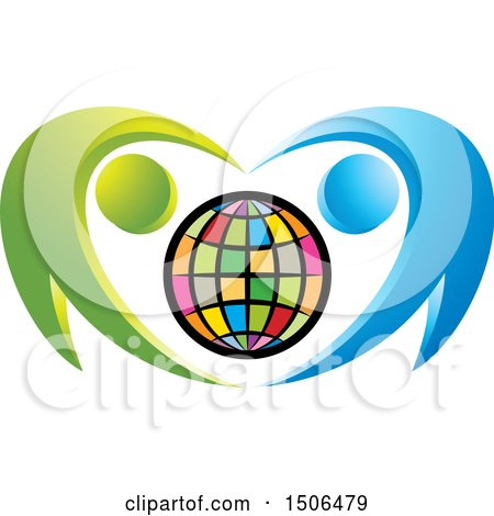 Clipart of a Colorful Globe Embraced by Blue and Green People - Royalty Free Vector Illustration by Lal Perera