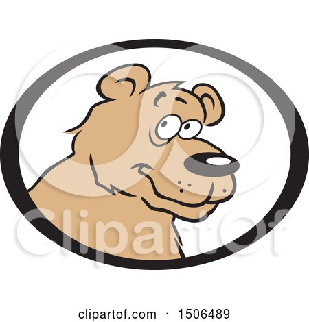Clipart of a Bear Face in an Oval - Royalty Free Vector Illustration by Johnny Sajem