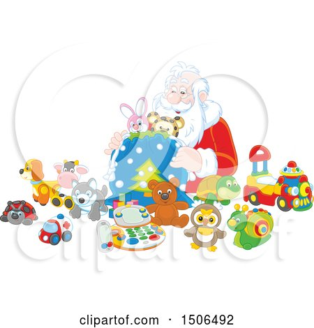 Clipart of a Scene of Santa Stuffing Toys into His Sack - Royalty Free Vector Illustration by Alex Bannykh