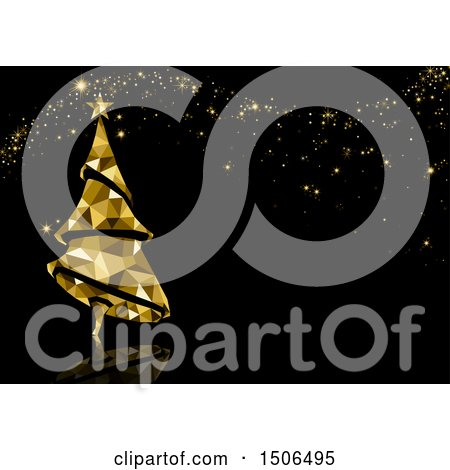 Clipart of a Christmas Background of a Geometric Golden Tree and Sparkles on Black - Royalty Free Vector Illustration by dero