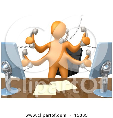 Busy Orange Employee Standing In Front Of Their Desk Chair, Two Computer Screens And Papers On Their Desk While Multitasking And Taking Multiple Phone Calls At Once Clipart Graphic by 3poD