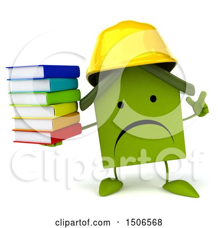 Clipart of a 3d Green Home Contractor Holding Books, on a White Background - Royalty Free Illustration by Julos