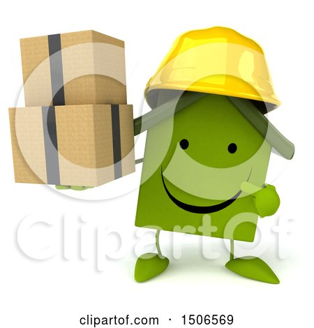 Clipart of a 3d Green Home Contractor Holding Boxes, on a White Background - Royalty Free Illustration by Julos