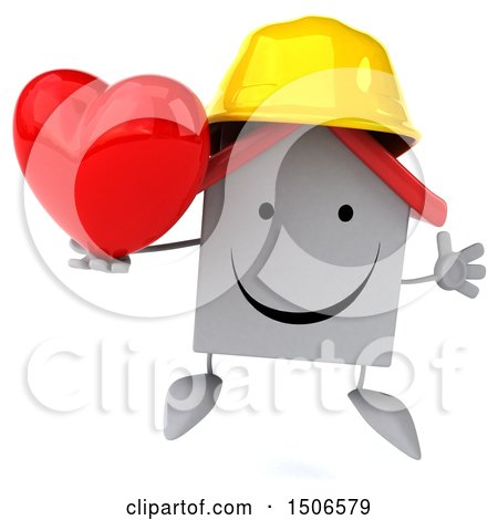 Clipart of a 3d White Home Contractor Holding a Heart, on a White Background - Royalty Free Illustration by Julos