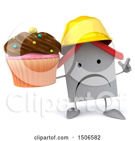 Clipart of a 3d White Home Contractor Holding a Cupcake, on a White Background - Royalty Free Illustration by Julos