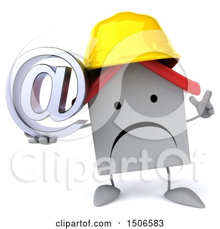 Clipart of a 3d White Home Contractor Holding an Email Symbol, on a White Background - Royalty Free Illustration by Julos