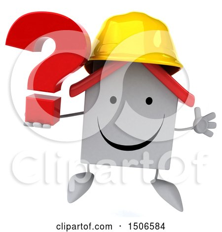 Clipart of a 3d White Home Contractor Holding a Question Mark, on a White Background - Royalty Free Illustration by Julos